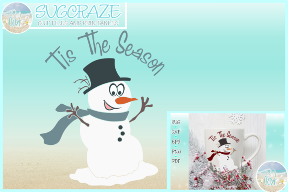 Print on Demand: Tis the Season Quote Snowman Graphic Crafts By SVGcraze
