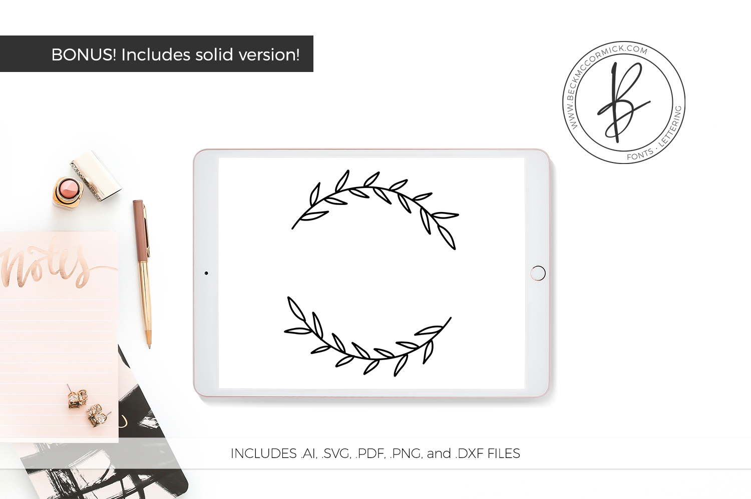Download Free Top Bottom Laurel Graphic By Beckmccormick Creative Fabrica for Cricut Explore, Silhouette and other cutting machines.