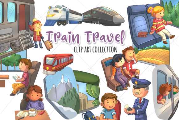 Print on Demand: Train Travel Clip Art Collection Graphic Illustrations By Keepinitkawaiidesign