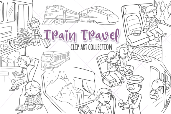 Print on Demand: Train Travel Digital Stamps Graphic Illustrations By Keepinitkawaiidesign