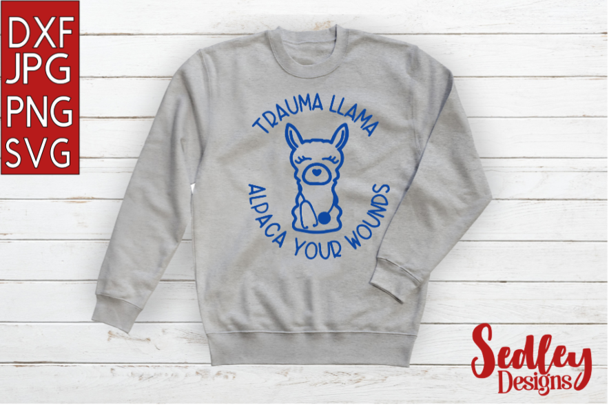 Download Free Trauma Llama Graphic By Sedley Designs Creative Fabrica for Cricut Explore, Silhouette and other cutting machines.