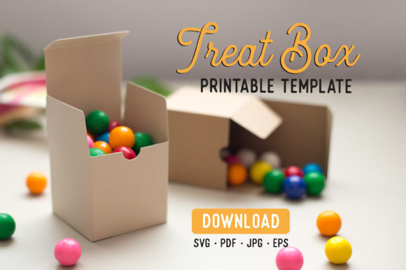 Print on Demand: Treat Box Cutfile Template Graphic Print Templates By The Gradient Fox
