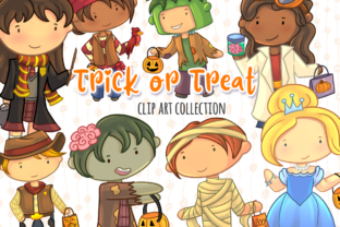 Print on Demand: Trick or Treat Clip Art Collection Graphic Illustrations By Keepinitkawaiidesign 1