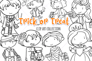 Trick or Treat Digital Stamps Graphic By Keepinitkawaiidesign