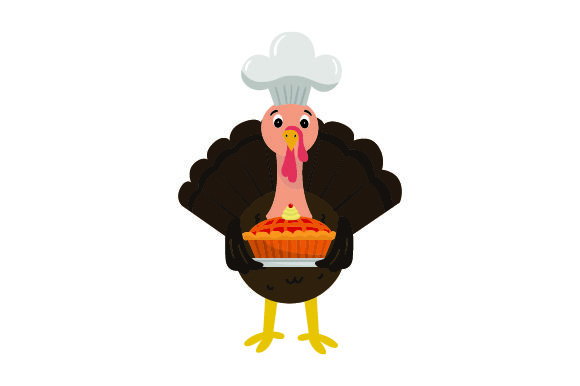 Download Free Turkey Wearing Chefs Hat Holding A Pie Thanksgiving Svg Cut for Cricut Explore, Silhouette and other cutting machines.