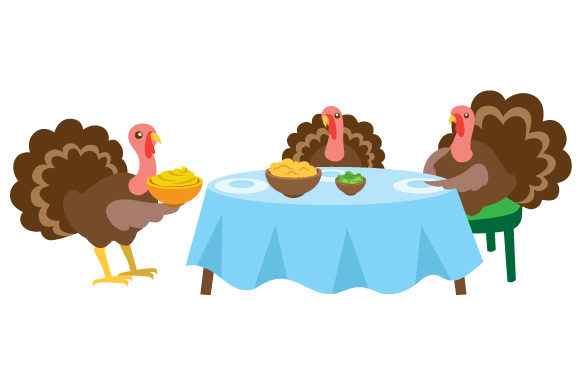 Download Free Turkeys Eating At A Table Svg Cut File By Creative Fabrica Crafts Creative Fabrica for Cricut Explore, Silhouette and other cutting machines.