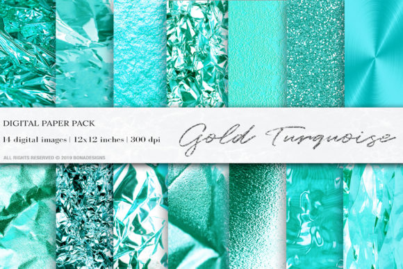 Turquoise Gold Digital Papers Graphic Textures By BonaDesigns