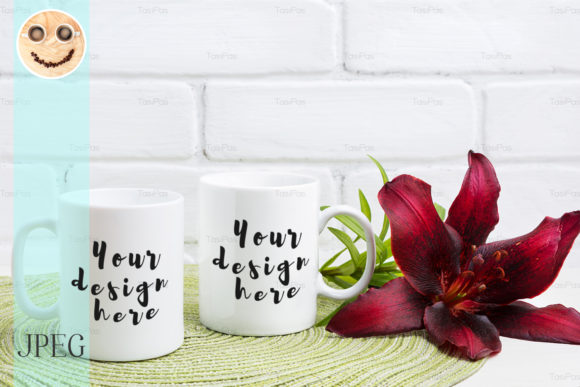 Print on Demand: Two Coffee Mug Mockup with Maroon Lily Graphic Product Mockups By TasiPas