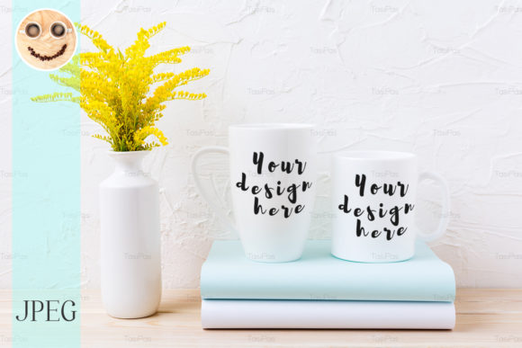 Print on Demand: Two White Coffee and Cappuccino Mug Graphic Product Mockups By TasiPas