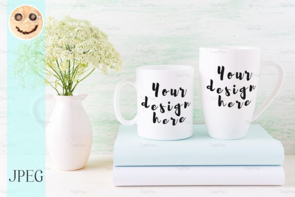 Print on Demand: Two White Mugs Mockup with Books Graphic Product Mockups By TasiPas