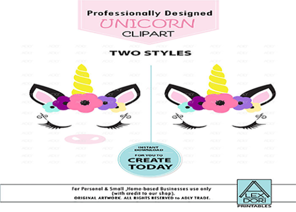 Download Free Unicorn Clip Art Graphic By Adlydigital Creative Fabrica for Cricut Explore, Silhouette and other cutting machines.