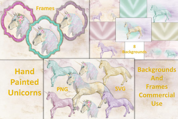 Download Free Unicorn Clipart And Backgrounds Graphic By The Paper Princess for Cricut Explore, Silhouette and other cutting machines.