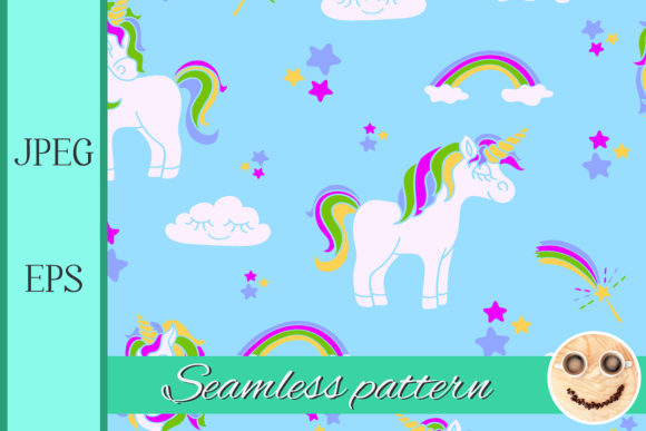 Print on Demand: Unicorns on the Blue Seamless Pattern Graphic Patterns By TasiPas