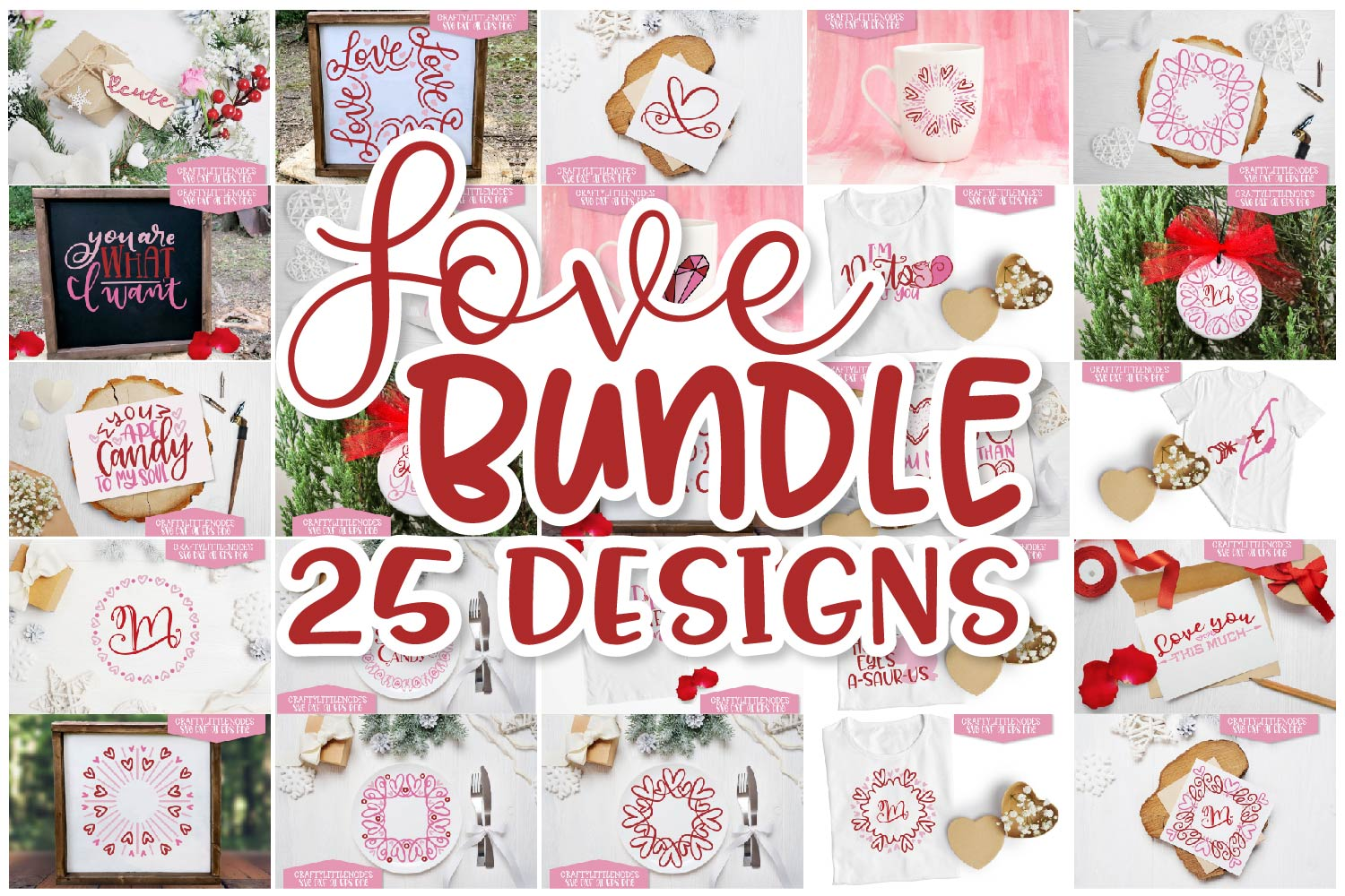 Download Free Valentines Day Design Set Love Bundle Graphic By Justina Tracy for Cricut Explore, Silhouette and other cutting machines.