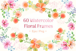 Print on Demand: Vector Watercolor Floral Frames Graphic Illustrations By tatiana.cociorva