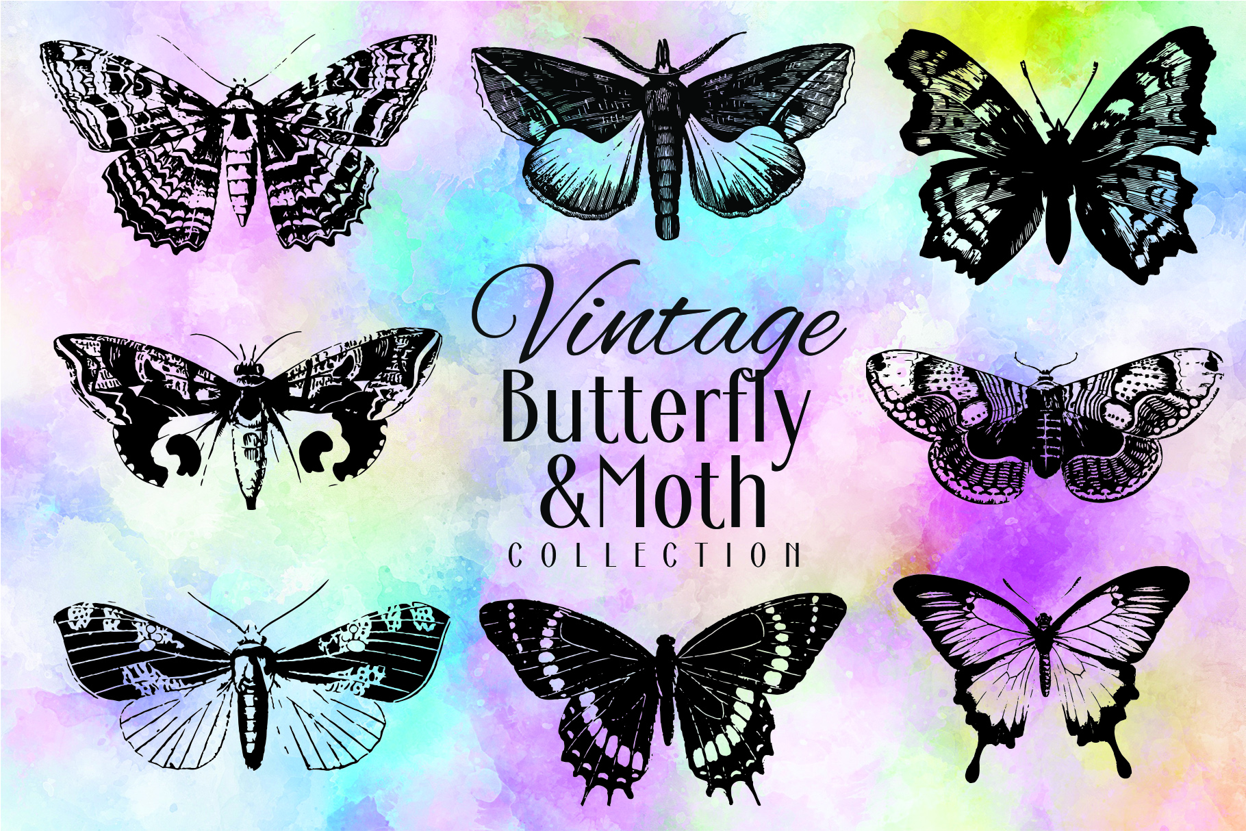 Download Free Vintage Butterfly Collection Graphic By Denestudios Creative for Cricut Explore, Silhouette and other cutting machines.