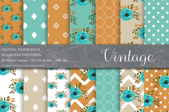 Vintage Flower Digital Paper Graphic By Bonadesigns Creative