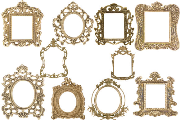 Print on Demand: Vintage Gold Frames Graphic Illustrations By retrowalldecor - Image 1