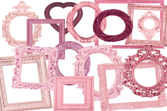 Print on Demand: Vintage Pink Frames Graphic Illustrations By retrowalldecor