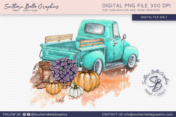 Vintage Turquoise Truck with Pumpkins Graphic By Southern Belle Graphics Image 1