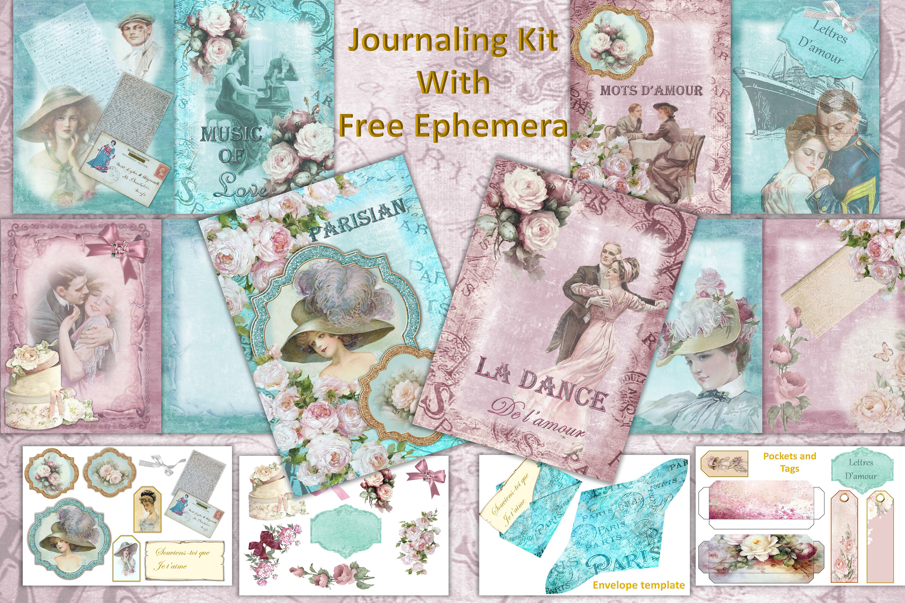 Download Free Vintage Victorian Journal Scrapbook Kit Graphic By The Paper Princess Creative Fabrica for Cricut Explore, Silhouette and other cutting machines.