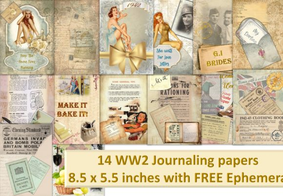 Download Free Vintage Ww2 Scrapbooking Or Journal Kit Graphic By The Paper for Cricut Explore, Silhouette and other cutting machines.