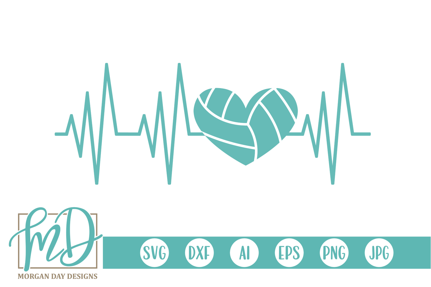 Download Free Volleyball Heartbeat Graphic By Morgan Day Designs Creative for Cricut Explore, Silhouette and other cutting machines.
