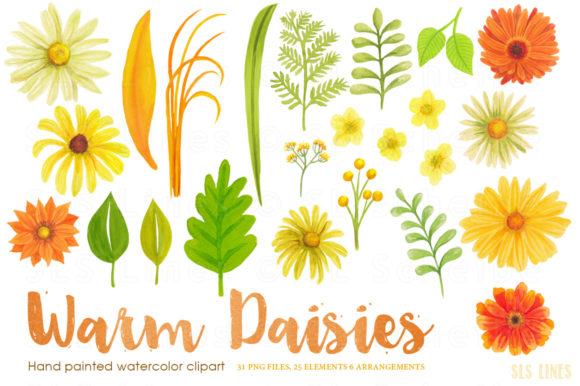 Print on Demand: Warm Daisies Watercolor Clipart Set Graphic Illustrations By SLS Lines - Image 2