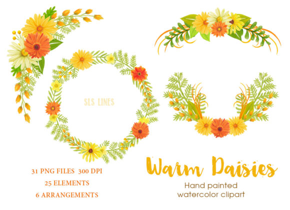 Print on Demand: Warm Daisies Watercolor Clipart Set Graphic Illustrations By SLS Lines - Image 3