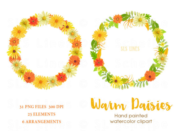 Print on Demand: Warm Daisies Watercolor Clipart Set Graphic Illustrations By SLS Lines - Image 4
