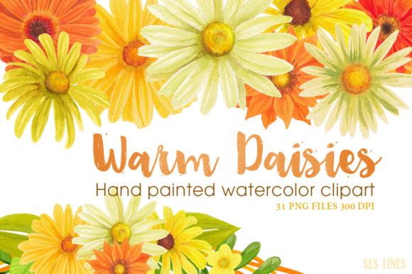 Print on Demand: Warm Daisies Watercolor Clipart Set Graphic Illustrations By SLS Lines