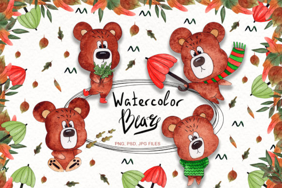Print on Demand: Watercolor Bears Collection Graphic Illustrations By tanatadesign