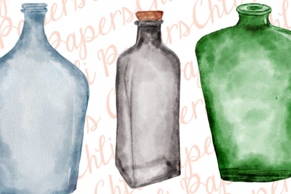 Download Free Watercolor Bottles Graphic By Chilipapers Creative Fabrica for Cricut Explore, Silhouette and other cutting machines.