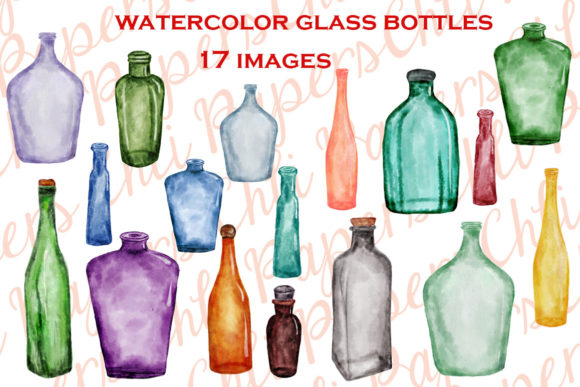 Watercolor Bottles Graphic Illustrations By ChiliPapers