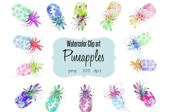 Print on Demand: Watercolor Clip Art Pineapples Graphic Illustrations By Anines Atelier