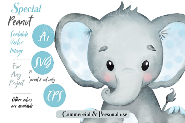 Download Free Watercolor Elephant Graphic By Adlydigital Creative Fabrica for Cricut Explore, Silhouette and other cutting machines.