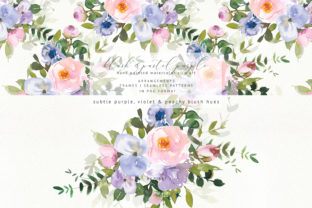Watercolor Floral Blush Purple Set Graphic By Patishop Art