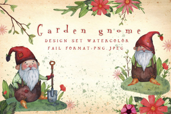 Watercolor Garden Gnome Set Graphic Illustrations By Mari_artchef