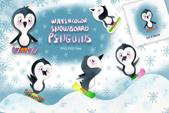 Print on Demand: Watercolor Snowboard Penguins Graphic Illustrations By tanatadesign