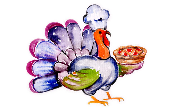 Watercolor Turkey Wearing Chefs Hat Holding a Pie Thanksgiving Craft Cut File By Creative Fabrica Crafts