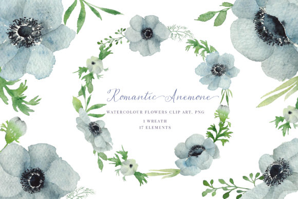 Print on Demand: Watercolour Anemone Graphic Illustrations By Primafox Design