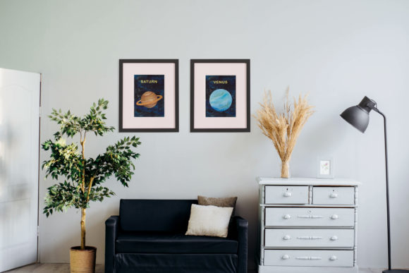 Print on Demand: Watercolour Planets, Galaxy Background Graphic Illustrations By Primafox Design - Image 4