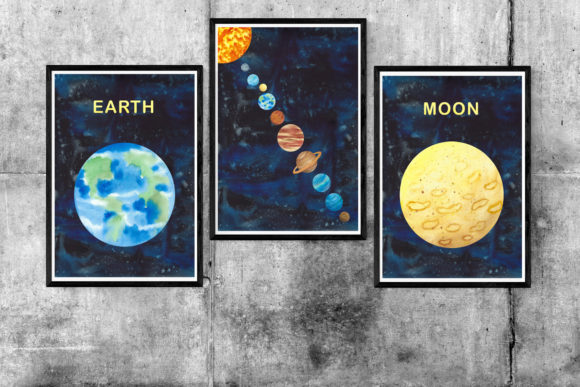 Print on Demand: Watercolour Planets, Galaxy Background Graphic Illustrations By Primafox Design - Image 5