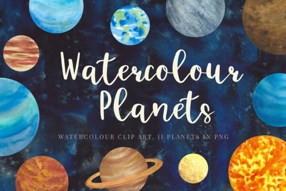 Print on Demand: Watercolour Planets, Galaxy Background Graphic Illustrations By Primafox Design - Image 1