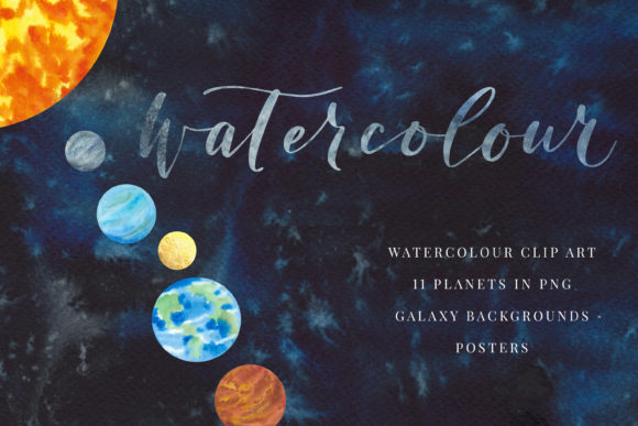 Print on Demand: Watercolour Planets and Galaxy Graphic Illustrations By Primafox Design