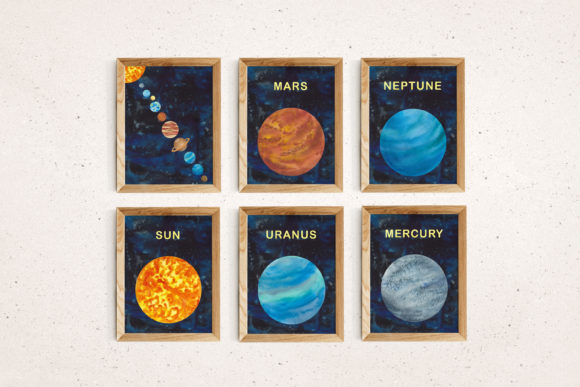 Print on Demand: Watercolour Space Poster Set of 11 Graphic Illustrations By Primafox Design - Image 4