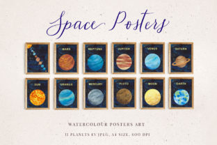 Watercolour Space Poster Set of 11 Graphic By Primafox Design