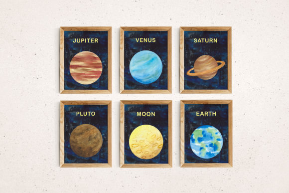 Print on Demand: Watercolour Space Poster Set of 11 Graphic Illustrations By Primafox Design - Image 5