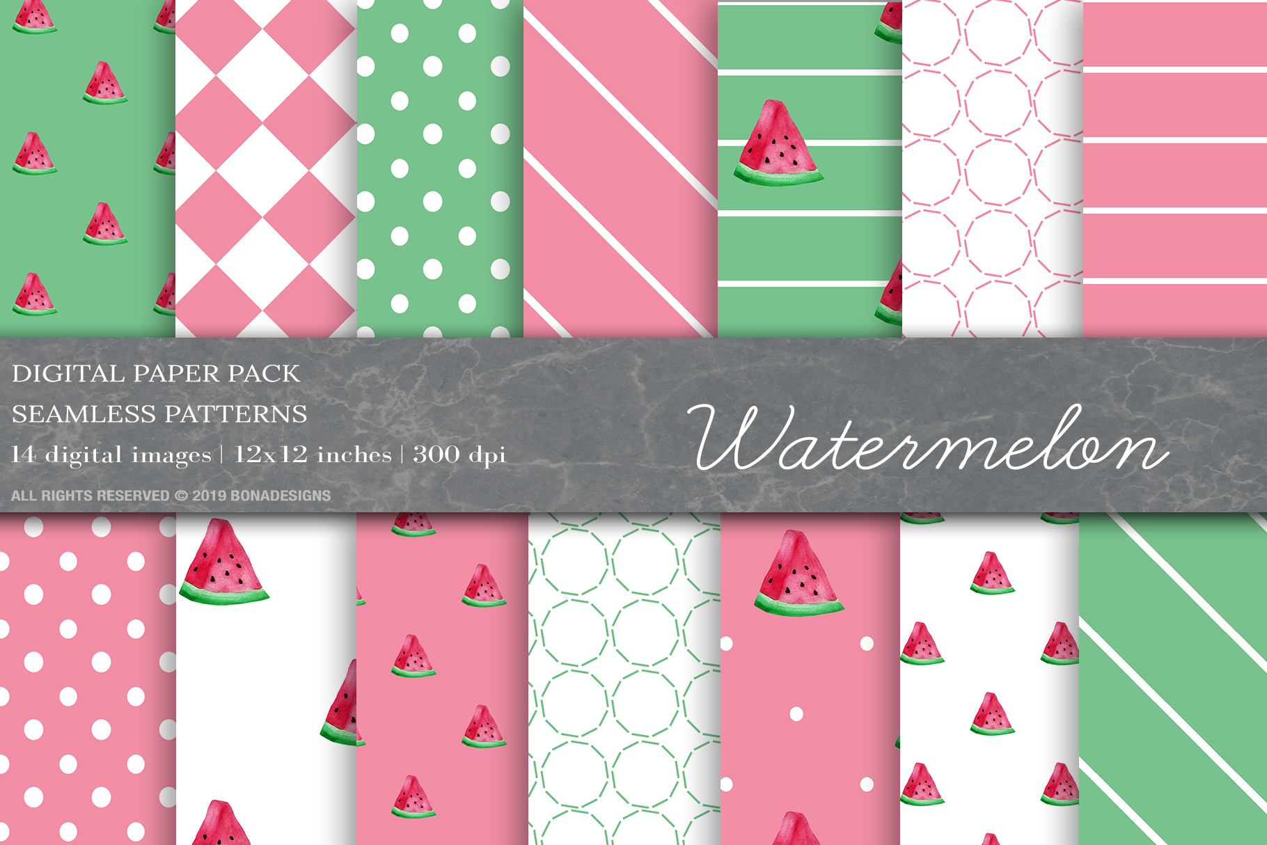 Download Free Watermelon Digital Papers Fruit Pattern Graphic By Bonadesigns SVG Cut Files