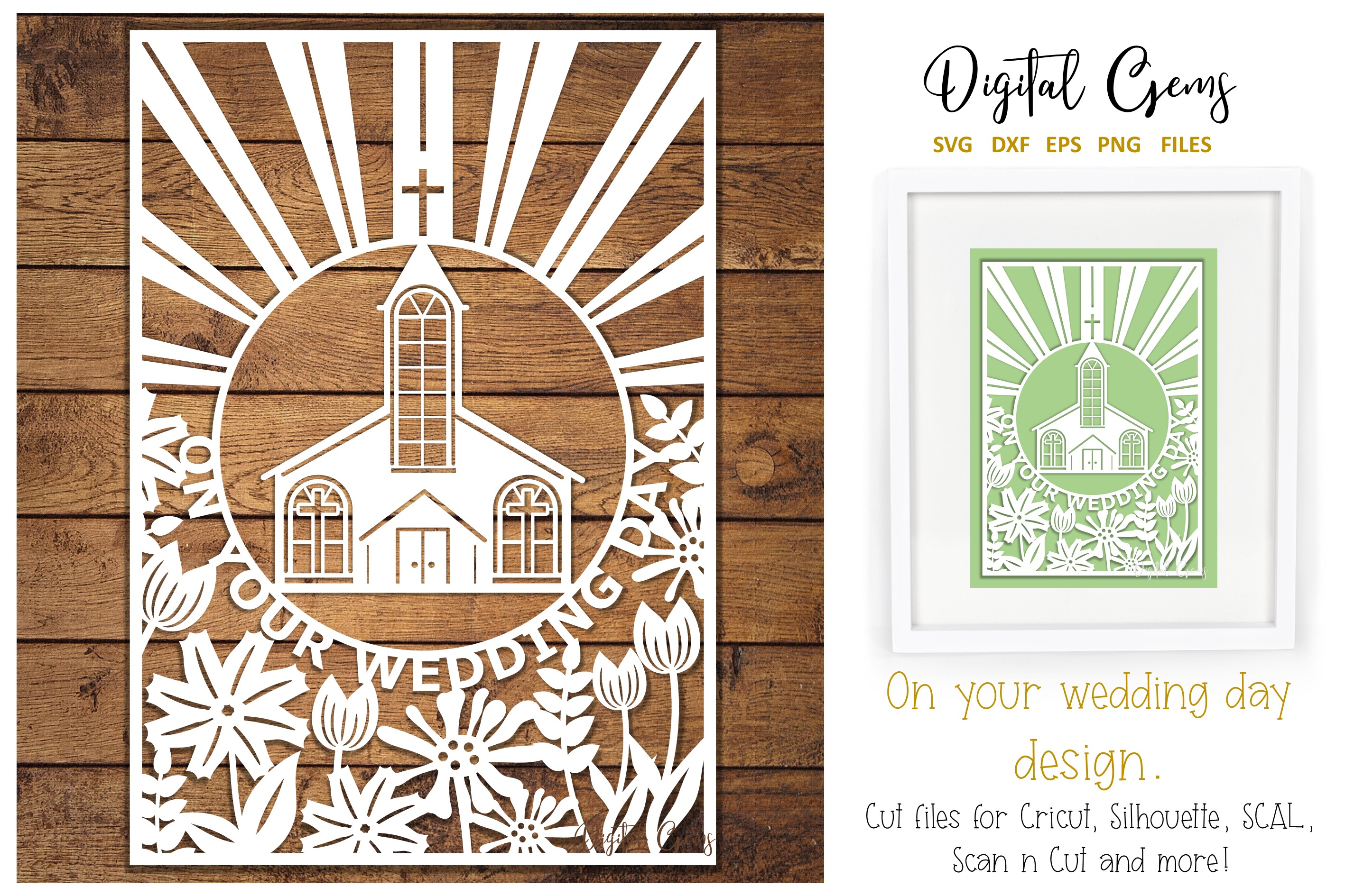 Download Free Wedding Papercut Design Graphic By Digital Gems Creative Fabrica for Cricut Explore, Silhouette and other cutting machines.